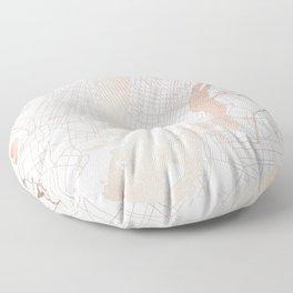 New York City White on Rosegold Street Map Floor Pillow