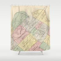 oakland Shower Curtains featuring Vintage Map of Oakland California (1878) by BravuraMedia