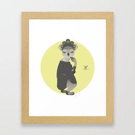 Animal Fashion: K is for Koala that wears a Russian kokoshnik, a kaftan and krepis shoes. Framed Art Print