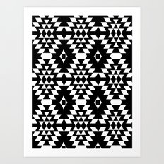 Aztec Inspired Pattern White & Black Art Print