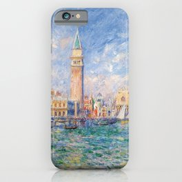 The Palace of the Doge's & St. Mark's Square Venice Italy landscape painting by Pierre Renoir iPhone Case
