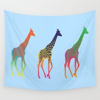 giraffes Wall Tapestries featuring Giraffes  by Michelle Jalfon