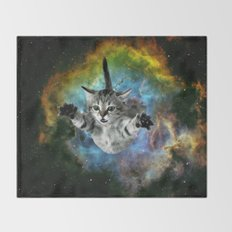 Space Cat Throw Blanket
