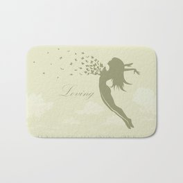 girl with butterflies in a jump Bath Mat