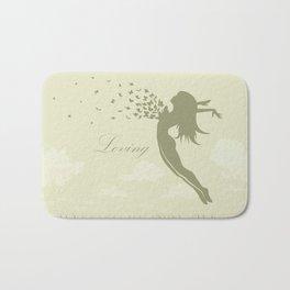 girl with butterflies in a jump Bath Mat