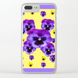 LILAC FRAMED YELLOW & PURPLE PANSY GARDEN FLOWERS Clear iPhone Case