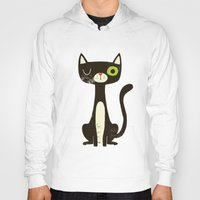 black cat Hoodies featuring Black Cat by Monster Riot