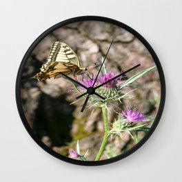 Scarce Swallowtail Butterfly and Thistle Wall Clock