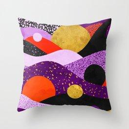 Terrazzo galaxy purple orange gold Throw Pillow