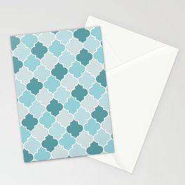 Moroccan Trellis, Latticework - Blue Gray White Stationery Cards