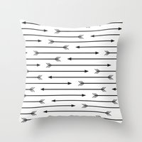 arrows Throw Pillows featuring Arrows  by Paint Me Pink