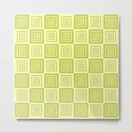 Mid Century Modern Geometric Checker 821 Chartreuse Metal Print