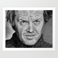 jack nicholson Art Prints featuring Jack Nicholson The Shining by Kirstyturnerportraits