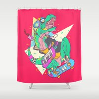 trex Shower Curtains featuring Ju-RAD-ssic Park by Fightstacy