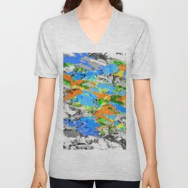 psychedelic splash painting abstract texture in blue green orange yellow black Unisex V-Neck