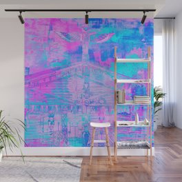 Totem Cabin Abstract - Hot Pink & Turquoise Wall Mural