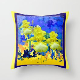 Contemporary Yellow-Purple  Color Yellow Iris Abstract Throw Pillow