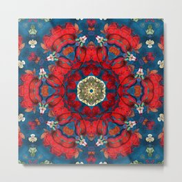 mandala 10 red blue #mandala Metal Print