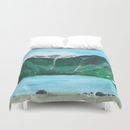 Avalanche Lake Mountain Waterfall Art Duvet Cover