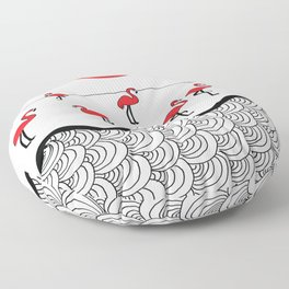Red flamingos Floor Pillow