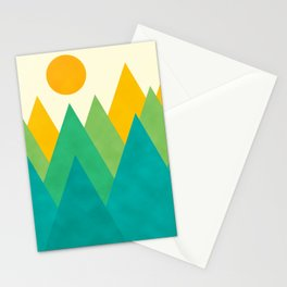 Modern Abstract Fresh Geometric Mountain Landscape with Rising Sun in Yellow, Green and Blue Colors, Retro Mountains Print Stationery Cards