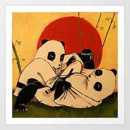 JIU JITSU PANDAS Art Print