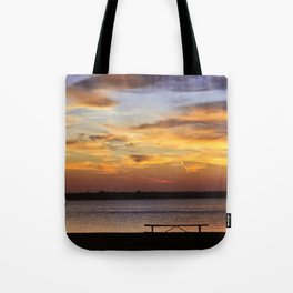 Sitting on the Bench by the Lake Tote Bag