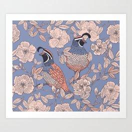 Quail and Wild Roses Art Print