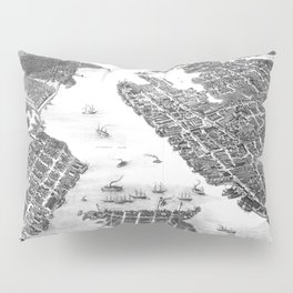 Vintage Map of Norfolk and Portsmouth VA (1873) BW Pillow Sham
