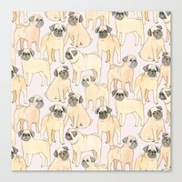 pugs Canvas Prints featuring Pugs by Sian Keegan