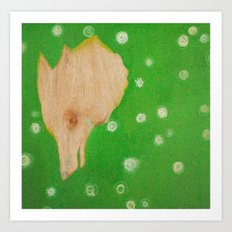 Fox in Clover Art Print