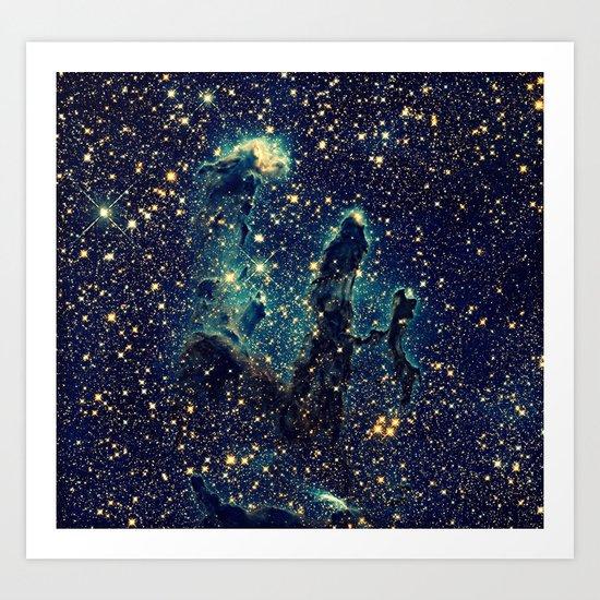 GalaxY  Teal Blue & Gold Art Print