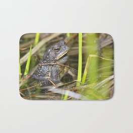 Toad in the pond Bath Mat