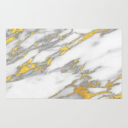 Carrara marble with gold Rug