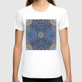 Blue Gold Lacy Mandalas T-shirt