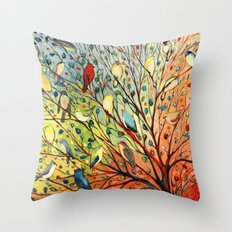27 Birds Throw Pillow
