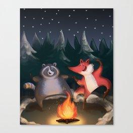 Fox trotting (around the campfire)  Canvas Print