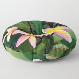 Hawaiian Plumeria at Sunrise Floor Pillow