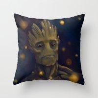 groot Throw Pillows featuring Groot by Ka-ren