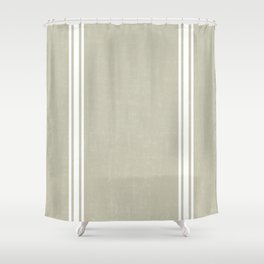 Vintage Country French Grainsack White Stripes Against Linen Color Background Shower Curtain