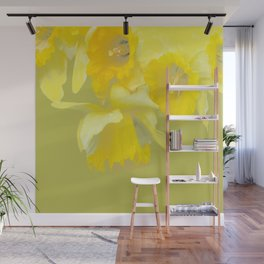Sign of Spring - Yellow Narcissus on Spring Green Background #decor #society6 #buyart Wall Mural