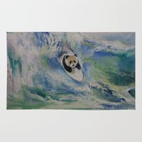 surfer Area & Throw Rugs featuring Panda Surfer by Michael Creese