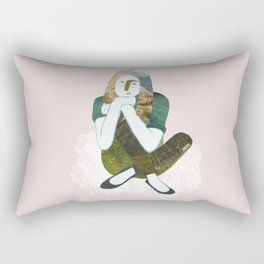 Zen girl illustration/collage Rectangular Pillow