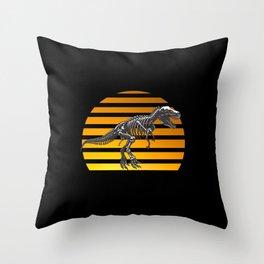 Dino T Rex Saurian Dinosaur Vintage Retro Throw Pillow