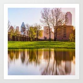 Dallas Skyline Square Format Trinity Reflections Art Print