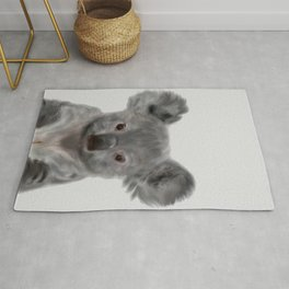 Koala Print, Cute Baby Koala Photo, Australian Animals Photo, Nursery Animals Wall Art, Animal Black Rug