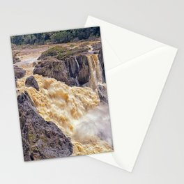 Powerful water going over the falls Stationery Cards