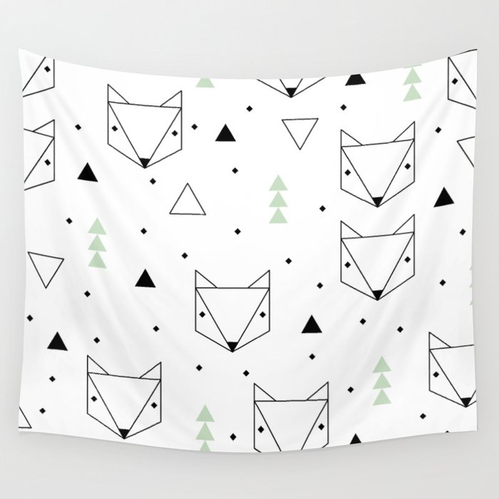 Scandinavian woodland fox forest mint black and Wall Tapestry
