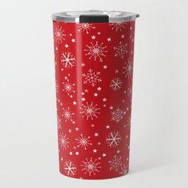 Red & White Snowflakes Pattern Travel Mug