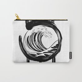 Black and white Japanese Wave and Circle Carry-All Pouch